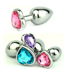 1 pcs/lot Hot New Mini Size Heart Shaped Stainless Steel Crystal Anal Plug Jewelled Butt Plug Anal Sex Toys for Couples GS0206