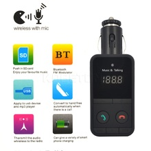 Black Wireless Bluetooth Car Kit HandsFree MP3 Player FM Transmitter Modulator SD USB LCD Remote Controll Car Music Player