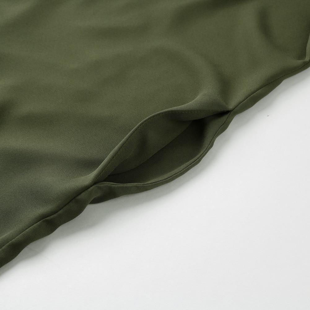 Plus Size - Chiffon Blouse Shirt V Neck Pockets Roll Up Long Sleeve Asymmetrical Shirt (Us 12-22W)