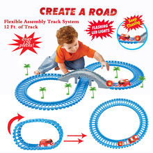 DIY Flexible Fire truck Track Create A Road Series Over 120 Piece Set Twister Tracks with bridge and 1 flashing led lights car(China)