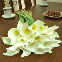 YO CHO Free shipping 2014 Small PU real touch calla lilies  artificial flower home decoration