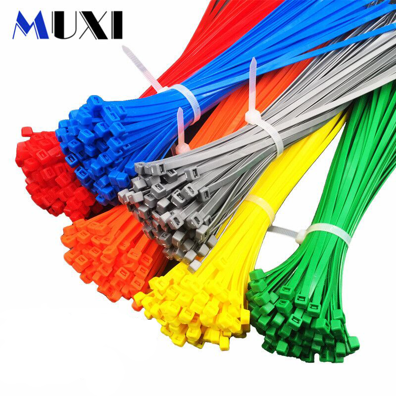 New 200Pcs 60-150mm Plastic Cable Zip Ties Wire Nylon Wrap Heavy Duty Ties Strap