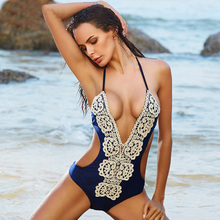 BOKONI Lace One Piece Swimsuit Push Up Swimwear Women Sexy Beach Monokini Bodysuits Solid Retro Bathing suits Brazilian Biquini