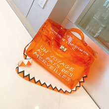 Ladies Transparent Jelly Bag Letter Printing Big Orange Clear Tote Bag Women Large Capacity Beach Handbag Sac Femm Wavy Strap(China)