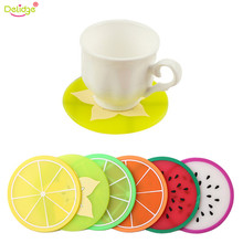 Delidge 1pc 9 cm Fruit Table Mat Cute Colorful Silicone round watermelon lemon orange Coaster Cup Cushion Heat Resistant Pad(China)