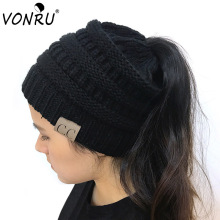 VONRU Women Winter Knitted Wool Cap Folds Casual CC Labeling Beanies Empty Hat Solid Hip-Hop Skullies(China)