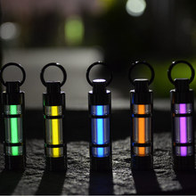 Free shipping Automatic light 25 years Titanium tritium keychain key ring fluorescent tube lifesaving emergency lights(China)