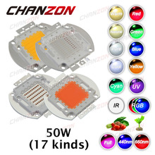 CHANZON High Power LED 50W Chip Cool Natural Warm White Red Blue Green UV RGB IR Full Spectrum Grow Light 50 W LED SMD COB Bulbs