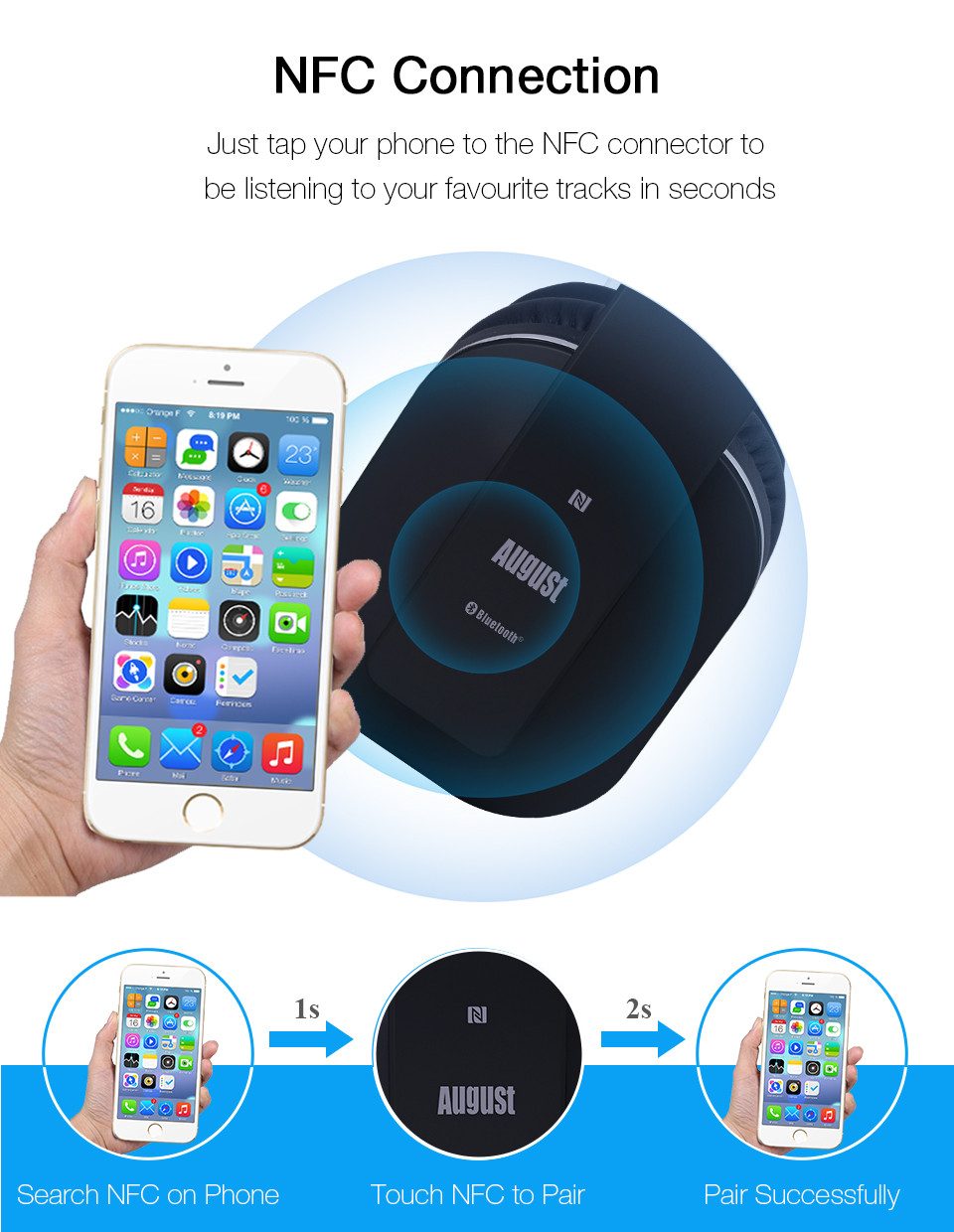 August EP650 Bluetooth Headphoens with NFC- Black