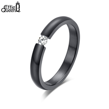 Effie Queen Titanium Steel Finger Rings Stainless Steel AAA Quality Austrian Zircon Wedding Engagement Rings WTR48