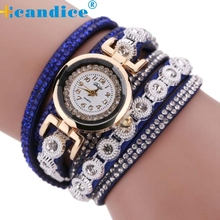 Hot Marketing  Popular Hot selling Women Vintage Crystal Band Bracelet Dial Quartz Dress Wrist Analog Watch  wholesale  Sep16
