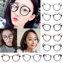 Hot 2016 Harajuku Girls Round Frame Plain Mirror Eyeglasses Fashion Student Clear Eye Glasses Frame Women Optical Eyewear Y1