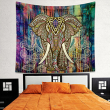 Vintage Poster Indian Elephant Mandala Living Room Wall Sticker Retro Printed Decorative Cloth Ganesha Bohe Wall Carpet Decals