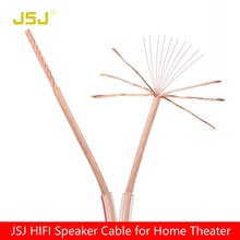 JSJ 16GA 300 Strands 2*1.18mm DIY HIFI OFC Transparent Loud Speaker Wire Cable for Home theater DJ System car stereo high end