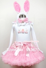 Light Pink Pettiskirt Dress & Easter EGG White Long Sleeve & Rabbit ear set MAMW202