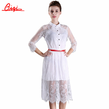 Sale black /white lace stitching Hollow out summer dress 2015 fashion plus size vestidos elegant evening party Casual Dresses