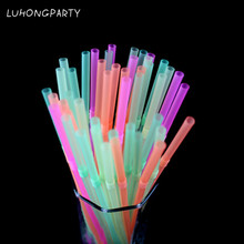 100pcs/lot Creative Extension Can Be Curved Fruit Juice Drink Milk Tea Straws 03  Disposable Color Bend Plastic LUHONGPARTY