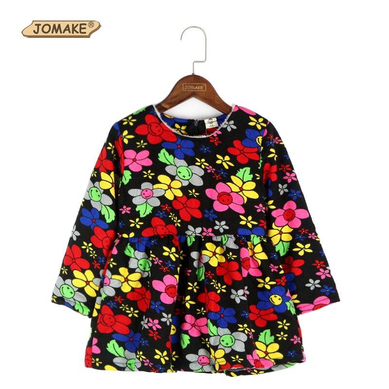 Retail Autumn And Winter Color Floral Print Plus Velvet Girls Dress Warm Baby Princess Dress Long Sleeve Kids Dresses For Girls<br><br>Aliexpress