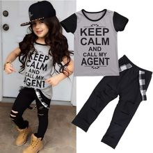 2pcs Tops T-shirt Pants Casual Trousers Stylish Kids Baby Girls Clothes Sets Belt Gray Hole Cotton 2016 Outfit Set Girl Age 2-7Y
