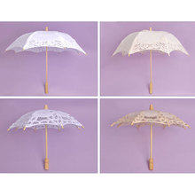 Vintage Handmade Lace Umbrellas Embroidered Lace Parasol Fashion Kids Umbrella  Wedding Umbrella Party Decoration Sunshade