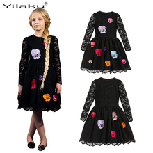 Girls Floral Dresses 2017 Autumn Girls Party Princess Long Sleeve Dress Kids Black Lace Dresses for Girls Children Clothes CA473