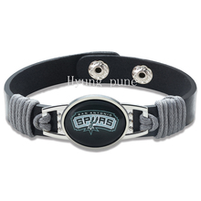 6pcs/lot! San Antonio Basketball Genuine Leather Adjustable Bracelet Wristband Cuff 12mm Black Leather Snap Button Charm Jewelry