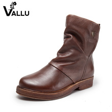 Latest Low Heel Leather Boots Shoes Woman Genuine Leather Ladies Shoes Vintage Handmade Women Ankle Boots Shoes Plus Size 41(China)