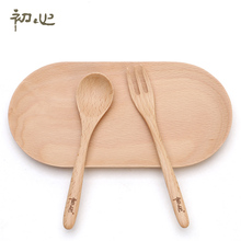At the beginning of the heart wood children tableware baby small spoon fork spoon three piece portable Korean
