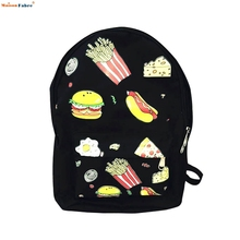 2017 New Fashion Design Unisex Canvas Food Printed Backpack School Travel Bag Boys Girls Casual Multifunction La Mochila Feb9