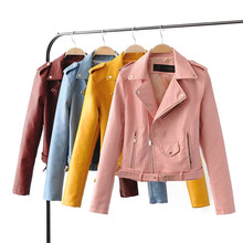 spring autumn period between PU fashion lapel accept waist candy color of zipper leather jacket, women's clothing(China)
