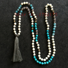 EDOTHALIA Natural Stone Knotted Beads Long Necklaces For Women Gift With Mother Of Pearl, Blue Stone, Gray Tassel Maxi Necklace