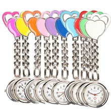 2016 New fasion Sweet Heart Chest Pocket Watch Nurse Table Quartz Alloy with Clip 10 colors Clock Smile