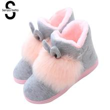 Senza Fretta Women Shoes Winter Cute Rabbit Ears Fluffy Boots Fashion Women Non-slip Warm Fluffy Boots Plus Warm Women Boots(China)