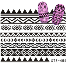 1 sheet Retro Style Water Transfer Sticker Nail Art Decals White/Black Grid Line Nail Designs Patterns Tips STZ453-454