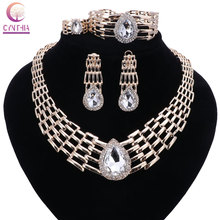 Women Italy Dubai Crystal Gold color Jewelry Sets Necklace Earrings Ring Wedding Party Bridal Accessories Costume Jewelry Sets