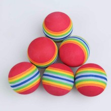 50pcs Golf Swing Training Aids Indoor Practice Sponge Foam Rainbow Balls Pets Juggling Toys Balls Golf Practice Ball(China)