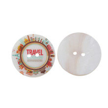 "DoreenBeads Natural Shell Sewing Button Scrapbooking 2 Holes Round Multicolor Buildings Message "" Travel "" Carved 3cm, 12 PCs"