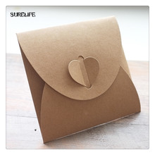 130*130mm NEW Vintage Heart Kraft Paper CD Optical Disc Paper Bag/DVD Bag/DIY Multifunction Green Card bag/ craft envelope