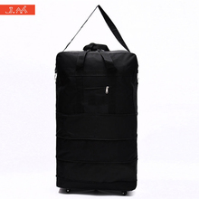 J.M Consignment By Air Travel Holdall Three Tier Expandable Folding Bag Oxford Large Capacity Cloth Rolling Luggage with Wheels