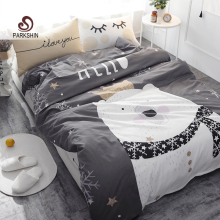 ParkShin White Bear on Gray Printed Bedding Set Kids Bedspread Duvet Cover Cute 100% Cotton Bed Set With Flat Sheet 4Pcs(China)