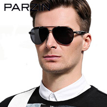 Parzin Men Sunglasses  HD Polarized High Definition Sunglasses Shades Driving Glasses Oculos De Sol Black  With Case 8032