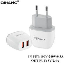 QIHANG Dual USB Charger 5V2.4A Universal Portable Travel Wall Charger Adapter US EU Plug Phone Charger For iPhone Samsung Xiaomi(China)