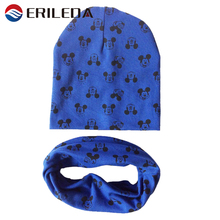 2017 Brand Baby Hat Cartoon Mickey Printing Cap Scarf Cotton Knit Winter Baby Caps Alll For Children's Accessories And Clothing