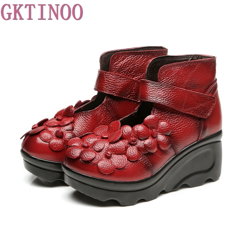2017 Handmade Flower Women Boots Round Toes Genuine Leather Ankle Boots Wedges Shoes Vintage Boot<br>