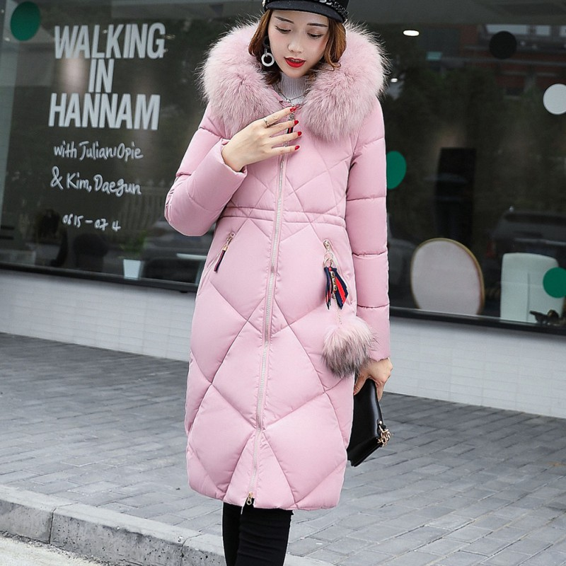 women winter pink hooded coat female outerwear parka ladies warm long jacket slim feminina 3XLÎäåæäà è àêñåññóàðû<br><br>