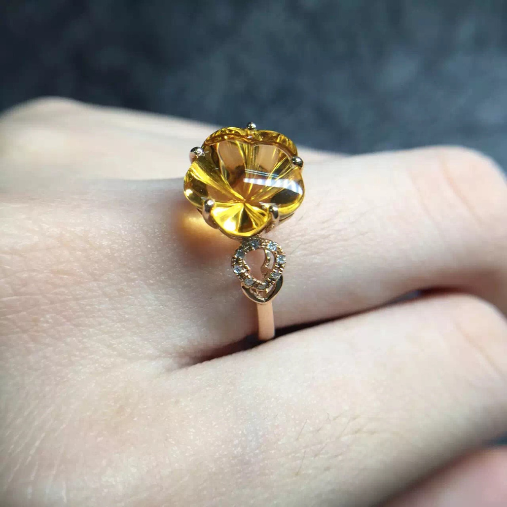Clover 105mm Fine Jewelry Affordable Good For Money Clean Real 18k Gold  Natural Citrine Ring