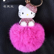 New Cartoon Hello Kitty Bunny Fur Pompom pom pom Ball Keychain Key Ring Holder Women bag charm pendant Accessories Gift for girl(China)