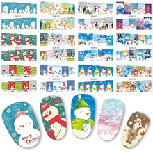 12pcs/lot Christmas Snowman Winter Designs Nail Art Sticker Water Transfer Nails Decals 3 CONCERT EYES Slider Decora BN217-228(China)