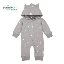 Spring Cartoon Star Pattern Hooded Baby Rompers Newborn Clothing Cotton Long Sleeve Jumpsuits Boys Girls Outerwear Costume(China)