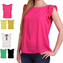2017 New Women Summer Shirt O-neck Lotus Leaf Sleeveless Pullover Fashion Chiffon Tops Blouses -MX8